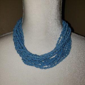 "Jewelry - Vintage  60's Sky Blue Beaded Necklace. 18"""
